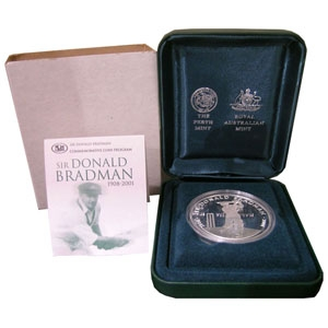2001 $5 Silver Proof Coin - Sir Donald Bradman